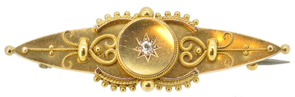 15ct yellow gold diamond brooch front view