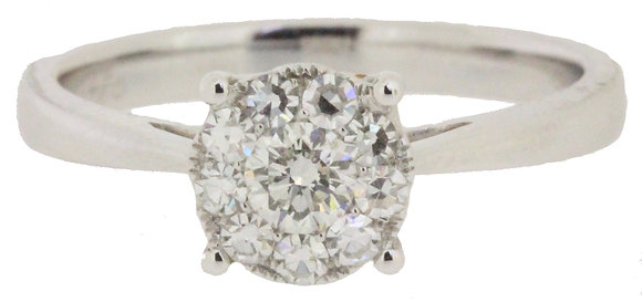 18ct white gold 0.52ct diamond ring front view