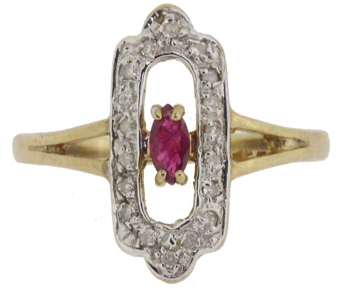 9ct yellow gold ruby and diamond ring front view