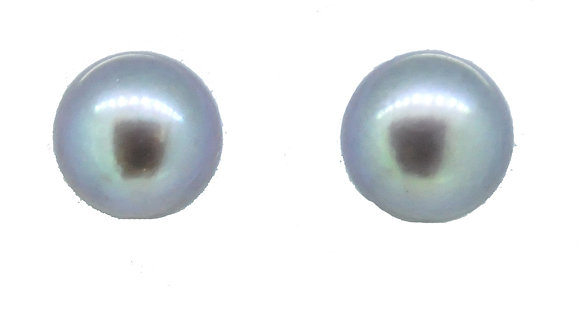 9ct White Gold Grey Pearl Studs