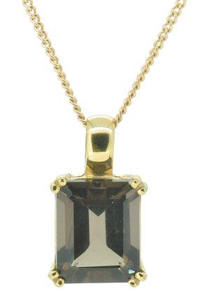 9ct yellow gold smokey quartz necklace