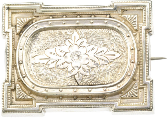Antique Silver Rectangular Brooch