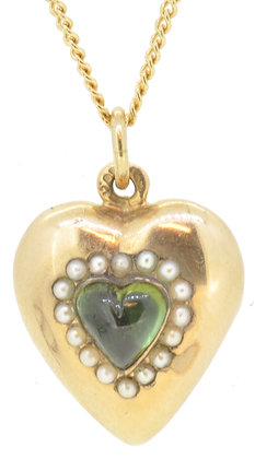 Antique 15ct yellow gold heart pearl and peridot necklace