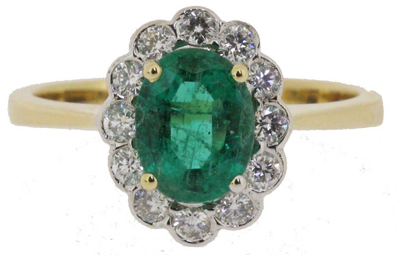 18ct yellow gold emerald and diamond ring front view