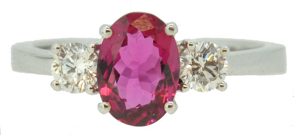 18ct White Gold Tourmaline & Diamond Ring