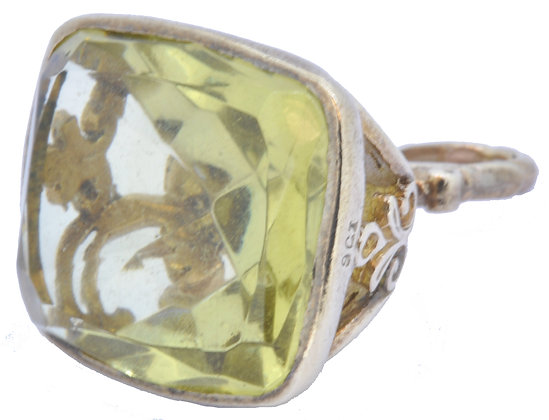 9ct yellow gold citrine fob front view