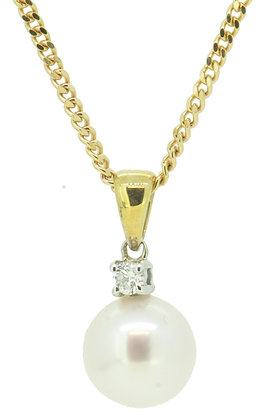 9ct Yellow Gold 0.05ct Diamond & Pearl Necklace