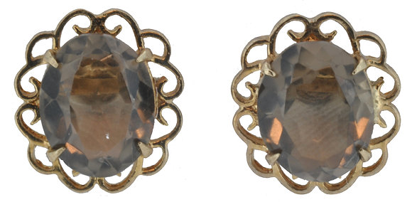 9ct yellow gold smokey quartz stud earrings