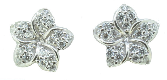 9ct White Gold CZ Studs
