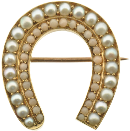 Antique gold coral and pearl horseshoe brooch front view