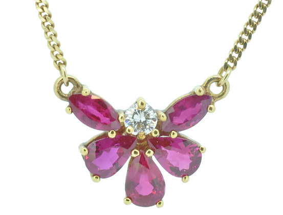 18ct yellow gold ruby and diamond butterfly necklace