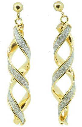 9ct Yellow Gold Twisted Sparkle Drop Earrings