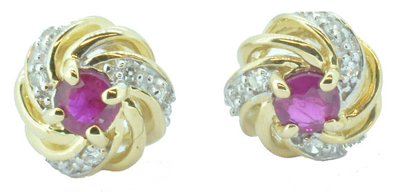 9ct yellow gold ruby and diamond cluster stud earrings