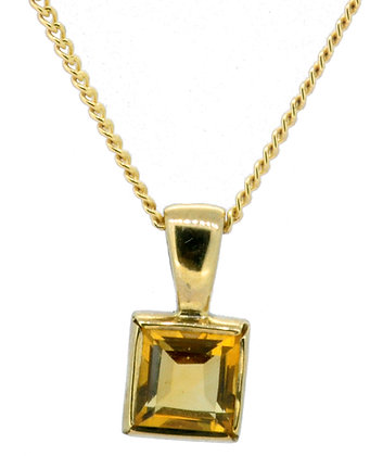 9ct yellow gold citrine necklace