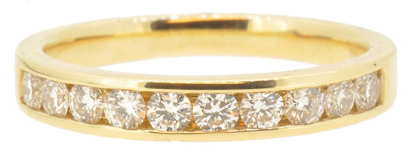 18ct Yellow Gold 0.49ct Diamond Half Eternity Ring