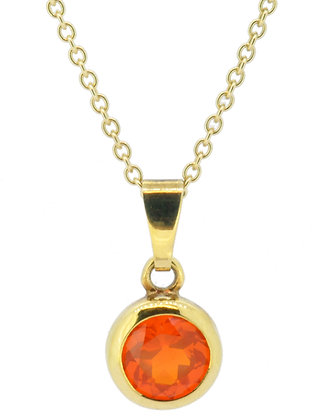 9ct yellow gold fire opal necklace