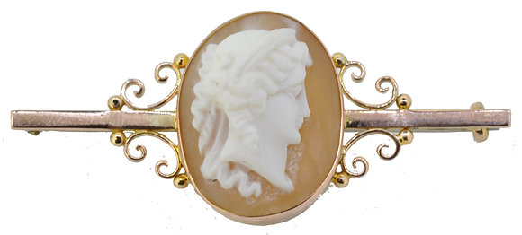 antique gold cameo bar brooch front view