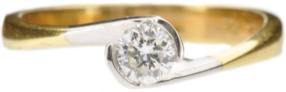 18ct yellow gold 0.27ct diamond single stone ring front view