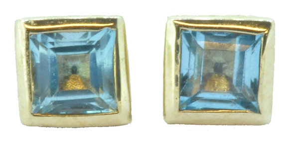 Yellow Gold Square Blue Topaz Stud Earrings