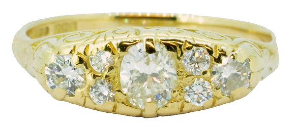 18ct yellow gold 7 stone diamond ring front view