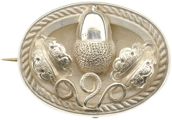 Antique Silver Acorn Brooch