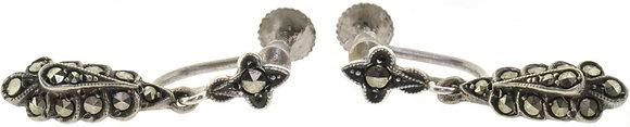 Vintage Silver Marcasite Screw Back Earrings