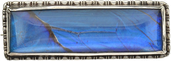 Vintage Silver Rectangle Butterfly Wing Brooch
