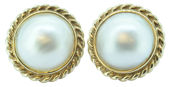 9ct yellow gold 1.5mm pearl clip stud earrings