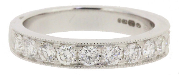 18ct white gold diamond half eternity ring front view
