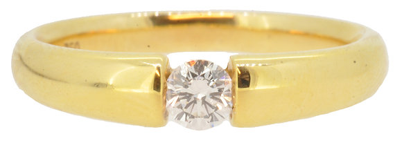 18ct yellow gold 0.25ct diamond ring front view