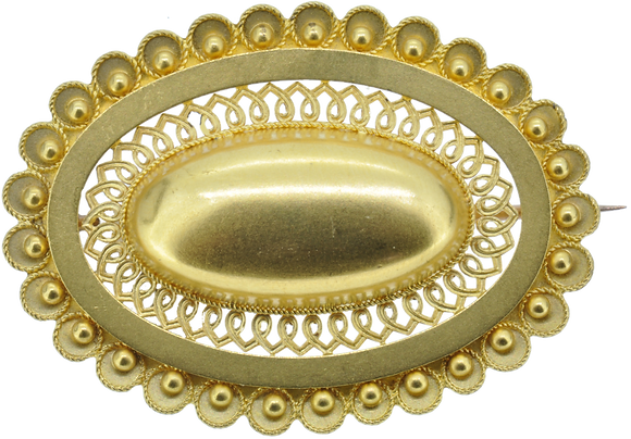 9ct yellow gold oval brooch
