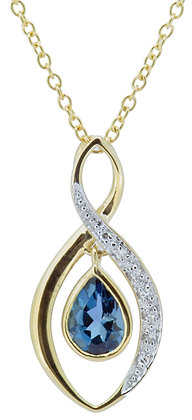 9ct yellow gold blue topaz diamond necklace