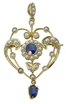 Antique Gold Sapphire & Pearl Necklace