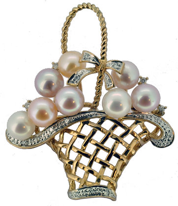 9ct yellow gold diamond and pearl basket brooch front view