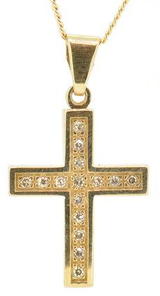 9ct yellow gold 0.15ct diamond cross necklace