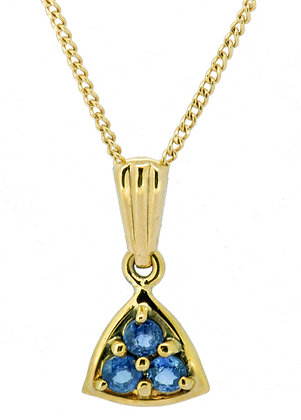 9ct yellow gold blue sapphire necklace