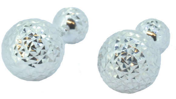 White Gold Two Way Ball Stud Earrings