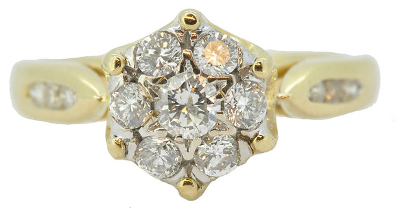 18ct yellow gold diamond cluster ring front view