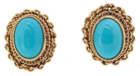 9ct Yellow Gold Turquoise Stud Earrings
