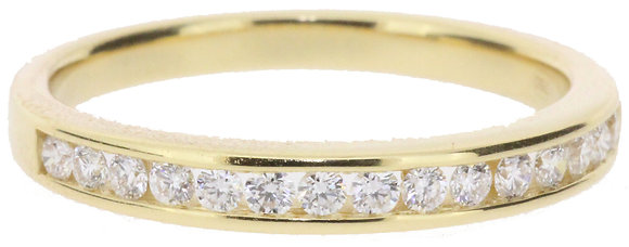 18ct yellow gold 0.27ct diamond half eternity ring front view