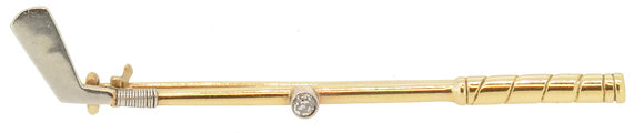 18ct Yellow Gold & Diamond Golf Club Brooch