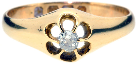 Antique diamond single stone ring front view