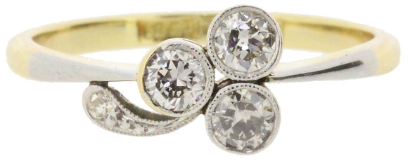 antique 18ct gold and platinum 0.30ct diamond ring front view