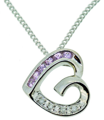 9ct White Gold Pink Sapphire and Diamond Heart Pendant