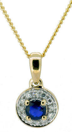 9ct yellow gold sapphire and diamond necklace