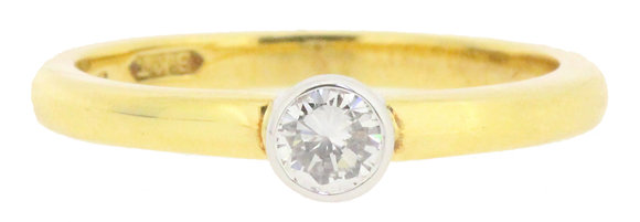 18ct yellow gold 0.24ct single stone diamond ring front view