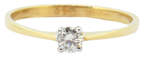 18ct yellow gold 0.16ct diamond single stone ring front view