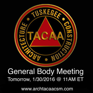 TACAA General Body Meeting - Tomorrow 1/30/2016 @ 11:00AM ET