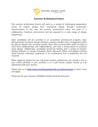 Summer Internship Opportunity