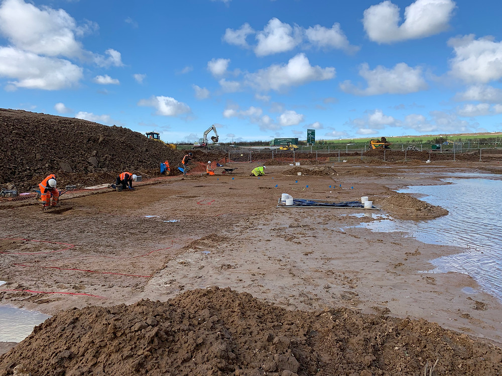 To the left a group of archaeologists in PPE trowel the site to find features. To the right the ground is flooded. In the background the machines are working at moving spoil.